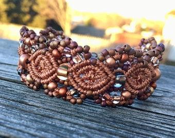SALE Micro-Macrame Beaded Cuff Bracelet - Copper