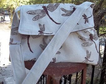Medium Messenger Bag - Dragonflies Tea Stained Cotton - Adjustable Strap - Pockets - Key Fob