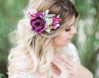 plum wedding hair clip, purple hair clip, plum hair accessories, pink and purple wedding headpiece, floral hair piece, floral hair clip