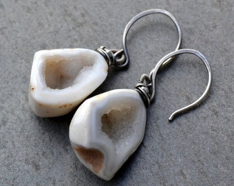 Tiny Baby Geodes on Sterling Silver Handmade Earwires
