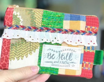 Be Still and Know, gift for christian, Scripture Zipper Bag, Christian faith gift, Grace cosmetic bag, one of a kind, unique, Bible verse