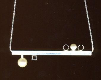Pearl horizonal minimalist sterling silver square bar geometric necklace