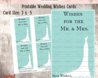 Teal Printable Wedding Wishes Cards, Printable Wedding Advice Wishes  Cards, Instant download, DIY