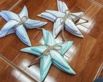 Wood Starfish tied in a bundle decor (Set of 3)  (EA)