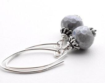 Mystic Gray Moonstone Earrings. Gray Moonstone with Sterling Silver. Diamond Polish Moonstone, Silverite, Silver Earrings, Gray Earrings