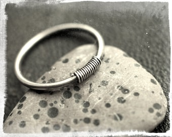 Sterling silver stacking ring with wire wrap detail, skinny stackable ring, minimalist design, oxidised 925 silver, unisex, pinkie ring.