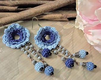Boho Chic Earrings Flower Dangle Earrings Birthday Women Gift Blue Earrings  Crochet Earrings Blue earrings Drop Earrings Gift for Girlfrien