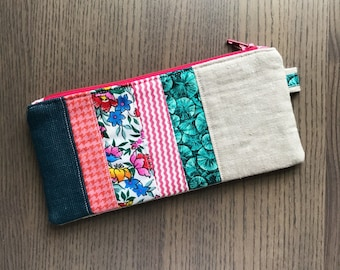 Blue, teal, and pink scrappy patchwork quilted zipper pouch