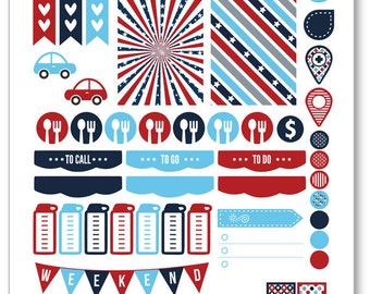 Patriotic Weekly Spread Planner Stickers for Erin Condren Planner, Filofax, Plum Paper