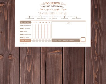 BOURBON tasting CUSTOM scorecard choose bottle numbers name EMAILED print at home