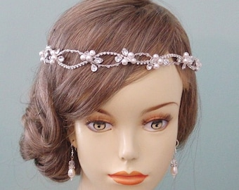 Wedding Hair Accessory  Bridal Headband Crystal Silver Hair Jewelry  Tiara Made to Order
