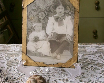 Vintage Photo Children Sweet Boy & Girl Victorian Antique Black and White Under Glass 4x5