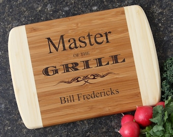 Father's Day Gift, Personalized Gift for Dad, Engraved Grilling Gift, Personalized Bamboo Wood Cutting Boards, Personalized Wood-10 x 7 D23