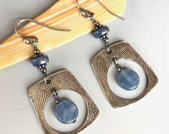 Denim Blue Kyanite Earrings / Kyanite Sterling Silver Earrings / Blue Gemstone Earrings