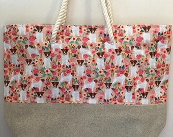 Jack Russell dog print beach bag