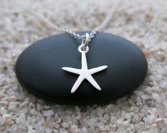 Starfish Necklace, Sterling Silver Starfish Charm, Ocean Jewelry, Beach Necklace