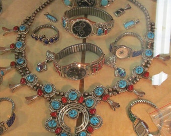 Antique Navajo Squash Blossom Necklace