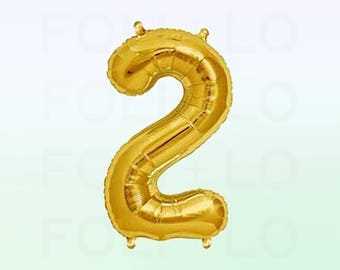 Metallic Gold Number 2 Balloon   Gold 2 Birthday Balloon   Gold Number 2 Balloon   Jumbo Number 2 Balloon