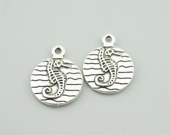 20pcs 15x19mm Antique Silver Seahorse Charm Pendants Doulbe Sides Charm Pendants ZQH1860
