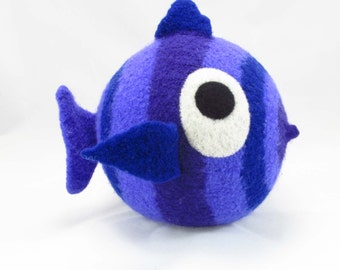 Fish Snooter-doot – plushie hand-knit felted wool , whimsical soft-sculptured huggable art, fun collectible toy/doll fish, folkart softie