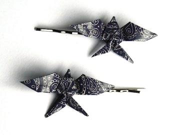 Origami Swallow Hair Clips - Navy blue paisley - 2pcs