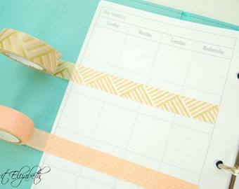 Basic Monthly Calendar - A5 Sized