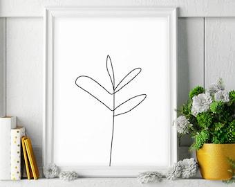 Minimalist Poster, Plant Sketch Art, Printable Wall Art, Minimalist Decor, Plant Drawing, Black and White Print, Digital Download, Plant Art