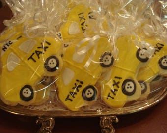 Wedding, Shower,  Birthday New York City Yellow Taxi Cab Decorated Sugar Cookies - NYC -  1 Dozen