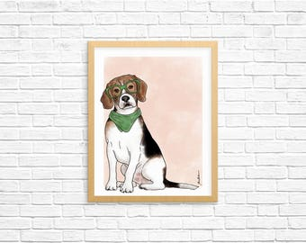 Dog Art Print, Beagle Art, Beagle Wall Art, Dog Lover Gift, Pet Portrait, Dorm Decor, Home Decor, Office Decor, Nursery Art