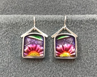Beautiful Artisan-Made Sterling Silver and Guilloche Resin Earrings. Free shipping.
