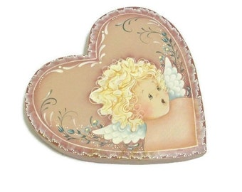 Angel Heart Plaque | Sweet Hand Painted Angel