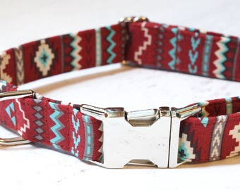 Aztec Dog Collar - Maroon Dog Collar - Tribal Dog Collar - Fabric Dog Collar - Male Dog Collar - Unique Dog Collars - Dog Accessories