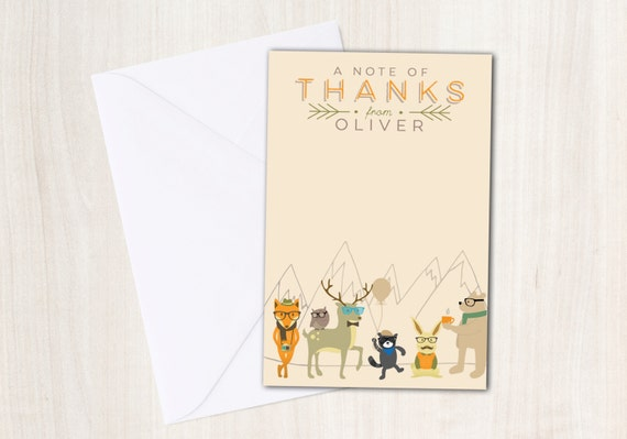Hipster Party Animals Thank You Note - Woodland Animals Thank You Card - party supplies