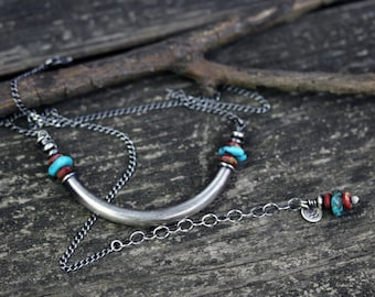 Sterling silver Kingman turquoise tube necklace / silver yoke necklace / boho necklace / gift for her / layer necklace / bold necklace