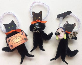 Black Cat Fortune Tellers Set Two Vintage Look Chenille Ornaments With Crystal Ball Ouija Board Tarot Cards