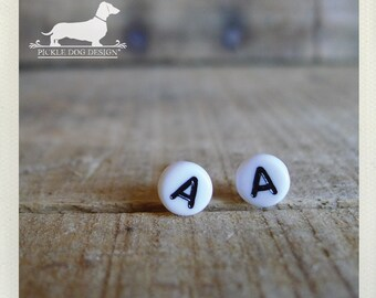 DOLLAR DEAL! Lobe Letters. Personalized Post Earrings -- (White, Typography, Initials, Letters, Vintage-Style, Cute, Birthday Gift Under 5)