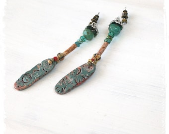Primitive Paddle Earrings, Rustic Polymer Clay Paddle Earrings, Artifact Earrings, Boho Chic Earrings, Hippie Gypsy Earrings, Gift for Her,