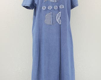 Vintage Denim Shift Dress Maxi with Fish and Sun burst Like  Appliques at the Front Large 1970s-1980s