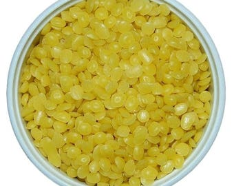 4 oz Organic Beeswax pellets, Fresh Beeswax Pastilles Yellow, From USA Bees.