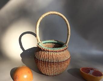 Peach woven basket