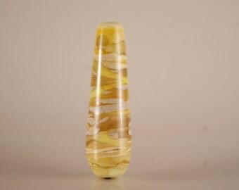 Lampwork Glass Focal Bead, teardrop bead in ivory