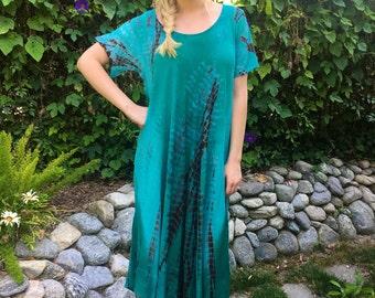 Boho Summer Dress, Tie Dye Dress, Caftan Dress, Cotton Gauze Dress, Womens Dress Loose Fit, Teal, Turquoise Brown L/XL 2X/3X