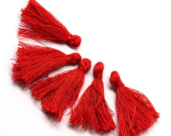 5 tassels / 30 mm red colored cotton tassel