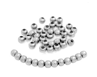 100 pcs 304 Stainless Steel Ball Spacer Beads- 6mm - Hypoallergenic! Hole Size: 2mm