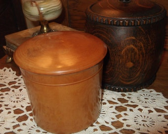 Vintage  Wooden Lidded Box, Treen, Turned wood Box, Vintage Box, Mauchline Ware type, Tobacco Jar