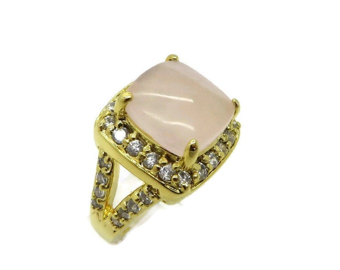Vintage Pink Quartz Ring | Gold Plated CZ Studded Statement Ring | Size 8