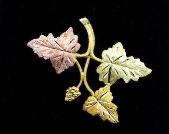 10K Gold Leaves Pin - Tri Colored Gold Grape Leaves Branch - Rose Gold Leaf - Signed L 10K - Landstrom Black Hills Gold