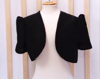 Black silk bolero jacket, bridal bolero, bolero, jacket,