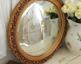 Vintage convex mirror. Gilt mirror. Gold mirror
