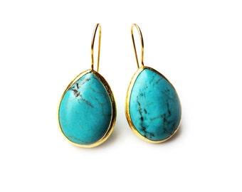 Turquoise Drop Silver Earrings Coated in 18 Karat Gold - turquoise teardrop earrings - big blue drop turquoise earrings - big turquoise drop
